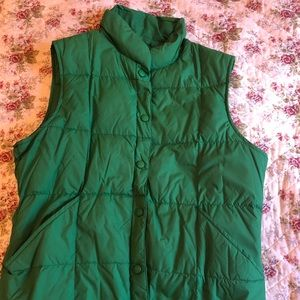Lands End Green Puffy Vest